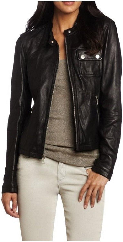 100% New Genuine Leather Lambskin Women Biker Motorcycle Jacket Ladies LTN247