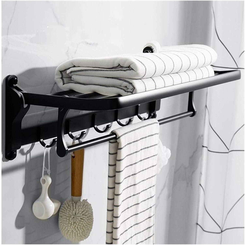 Estante de la toalla de la aleación de aluminio del estante del cuarto de bao de los 60cm con la barra de toalla multi, carriles plegables del tenedor de la toalla montado en la parojo con 5 ganchos 6