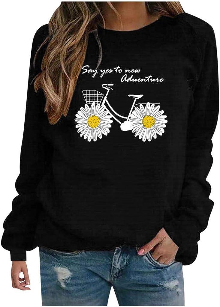 Fekuit Womens Pullover Washington Mall Ranking TOP10 Tops Sweatshirt Loose Crewneck Sleev Long