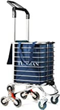TUOMAN Shopping Cart Portable Utility Carts Folding Trolley Light Weight Stair Climbing Cart with Triangle Crystal Wheel - 177 Pounds Capacity - Blue