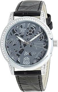 ساعة جلد دائرية انالوج بعقارب مزينة بفصوص للنساء من فينيس V8086-IPS-B - اسود