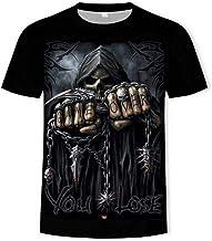RCFRGV T-shirt voor zomer, schedel, lange mouwen, ...