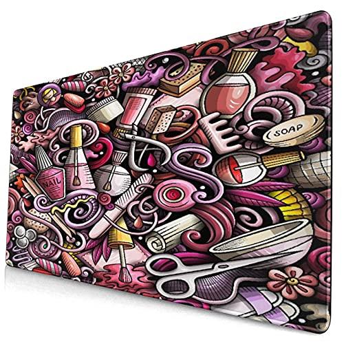Groß Gaming Mauspad-75 x 40cm,Maniküre Hand gezeichnete Kritzeleien,Rutschfeste Gummibasis Tastaturmatte mit Genähten Kanten für Laptop Computer Schreibtischunterlage