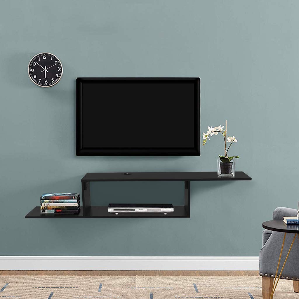 C Easy Modern Tv Stand Wall Mounted Tv Media Console Asymmetrical Tv Shelf Floating Tv Cabinet Wood Tv Table Media Storage Shelf Space Saving Tv Floating Shelf For 60 Inch Tv Black Buy Online In Dominica