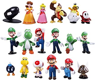 18pcs Mario Brothers Action Figures Kids Toys Cake Toppers Collection Playset Mary Princess, Turtle, Mushroom, Orangutan