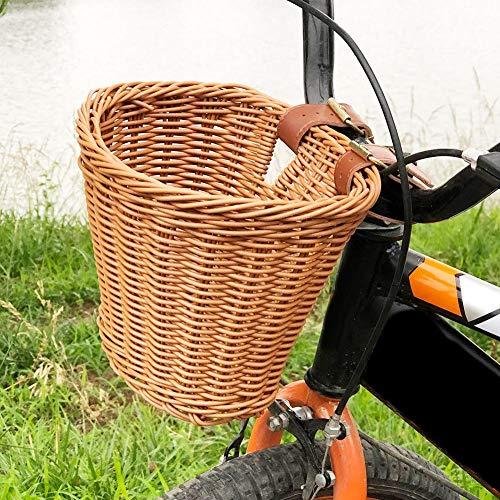 miss-an Abnehmbarer Fahrradkorb Abnehmbarer Lenkerkorb, Gewebter Vorderer Fahrradkorb Für Picknick-Einkäufe Bei Tierträgern