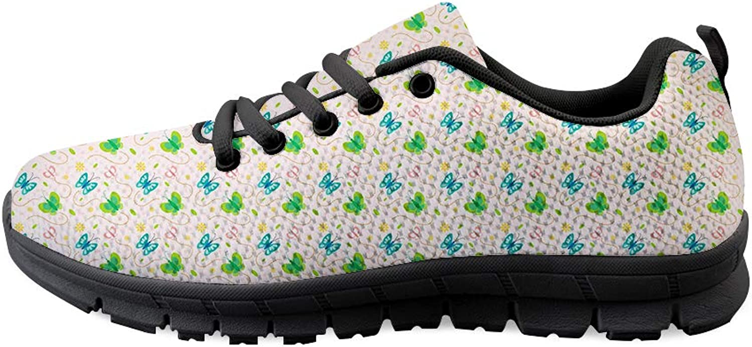 Owaheson Lace-up Sneaker Training shoes Mens Womens Free Flying colorful Butterflies