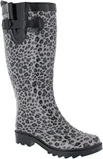 Shiny Baby Leopard Printed Ladies Tall Sporty Rubber Rain Boot Black Combo Combo 10