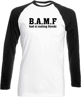 B.A.M.F Bad at Making Friends Womens Long Sleeve Baseball Two Tone t-Shirt