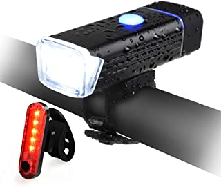 QIANXIANG Bike Light Set, Bicycle LED Headlight and...