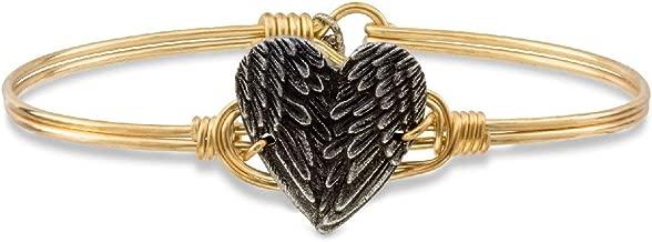 Luca + Danni | Angel Wing Heart Bangle Bracelet for Women - Brass Tone Size Regular Made in USA