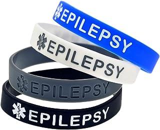 ليندونج 4 حزمة Epilepsy سيليكون طبية في حالات الطوارئ أساور للرجال والنساء