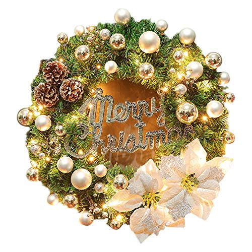 Dheera 40cm Lighted Christmas Wreath, with Flower Pine Cones and Decorative Ball Front Door, Beautiful Christmas Decoration Props