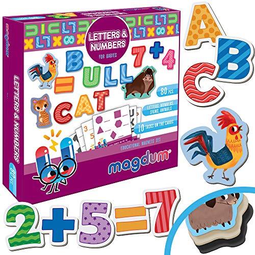 MAGDUM Inglese ABC – 80 Giochi Magnetici per Bambini Lettere e Numeri Giocattolo Educativi per Il Frigorifero Piccolo e Grande Giochi per Bambini di 3 Anni -Magneti per Bambini APPRENDIMENTO