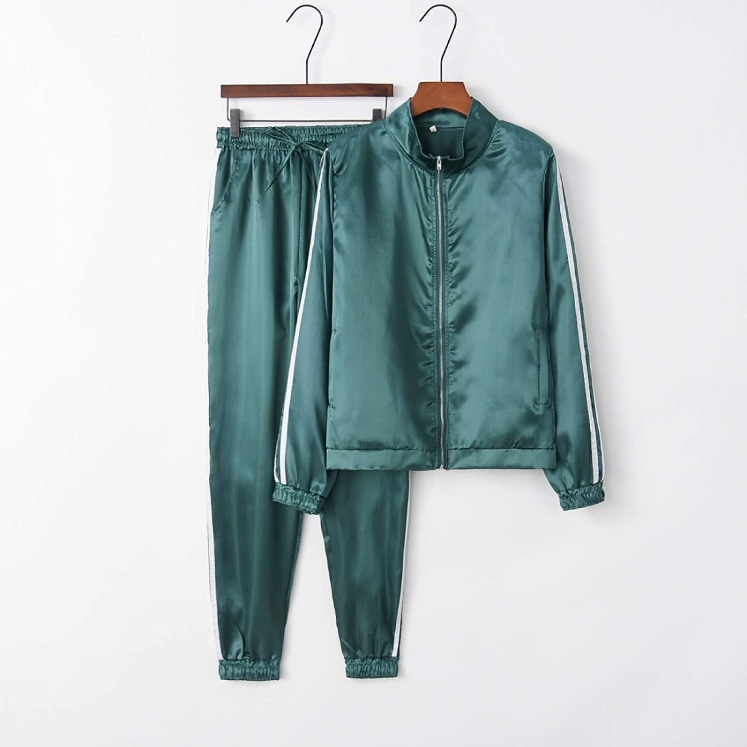 A+ZYS Long Sleeve Round Neck Casual Trousers Sports Suit (Color : Green)