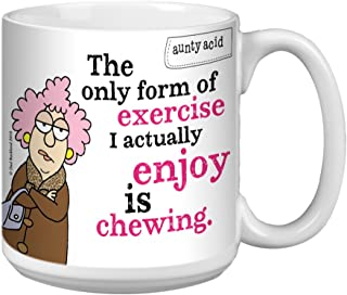 Tree-Free Greetings Extra Large 20-Ounce Ceramic Coffee Mug, Aunty Acid Chewing As Exercise (XM41475)