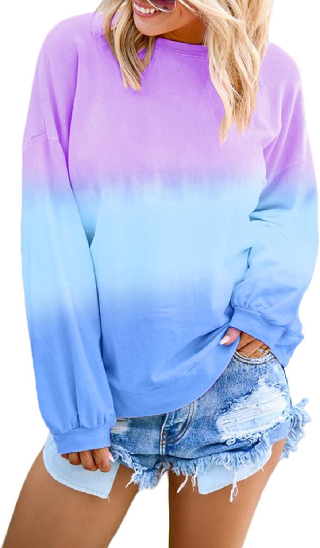 Anloli Sweatshirt Max 73% OFF for Women Long Dye Tie Sale price Sleeve Colorblock Pullo