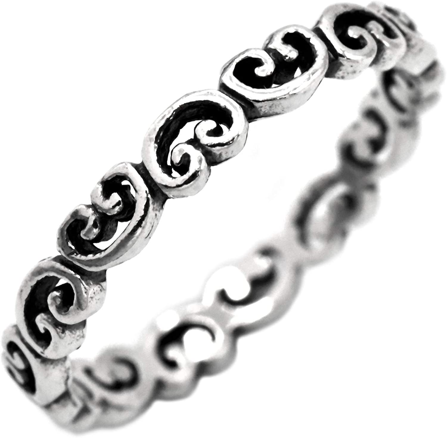 Filigree Bargain sale Heart Eternity Band Oxidized Spring new work Sterling Vintag 925 Silver