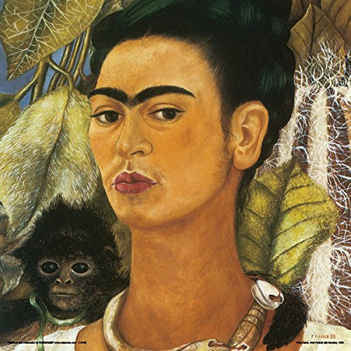 Frida Kahlo Self Portrait with a Monkey Decorative Fine Surrealist Art Poster Print 12x12
