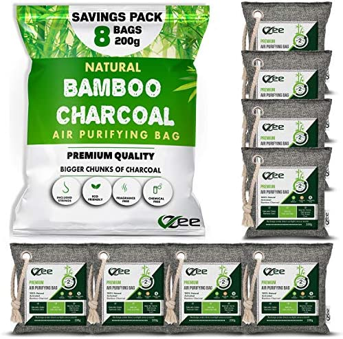 Nature Fresh Air Purifier Bags 8 Pack x 200g 8 Ropes Charcoal Bags Odor Absorber Activated Bamboo product image