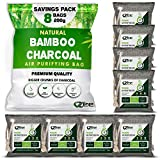 Nature Fresh Air Purifier Bags, 8 Pack x 200g, 8 Ropes, Charcoal Bags Odor Absorber, Activated Bamboo Charcoal Air Purifying Bag, Odor Eliminator for Strong Odor, Diaper Pail Odor Absorber, Odor Eater for Shoes, Home, Pet, Car, Smoke, Carpet, Fridge, Dogs, Cats, Musty Basement Smell, By VZee