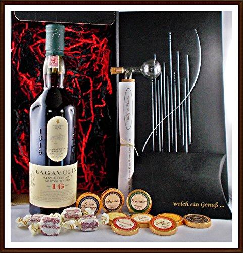Geschenk Set Lagavulin 16 Jahre Whisky + Flaschenportionierer + 10 Edel Schokoladen DreiMeister/DaJa + 4 Whisky Fudge, kostenloser Versand
