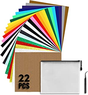 Iron on Vinyl Heat Transfer Vinyl 22 Pack Includes 16 Pack Assorted Colors Sheets and 6 Pack Glitter Sheets for T-Shirts W...