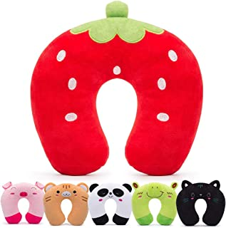 H HOMEWINS Travel Pillow for Kids Toddlers - Soft Neck Head Chin Support Pillow,Cute Animal,Comfortable in Any Sitting Position for Airplane,Car,Train,Machine Washable,Children Gift(Strawberry)