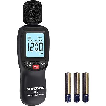 Sonomètre Decibelmetre Meterk 30-130dBA, Décibelmètre Professionnel 31.5-8KHz avec Max / Min / Data Hold, Alerte Rétro-éclairé, Piles Inclus.