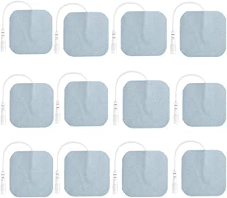 TENS Unit Pads 12 Pack Wired Self-Adhesive Electrodes Premium Replacement Pads for TENS Units - 2x2 Inches (2x2-12 Pack)