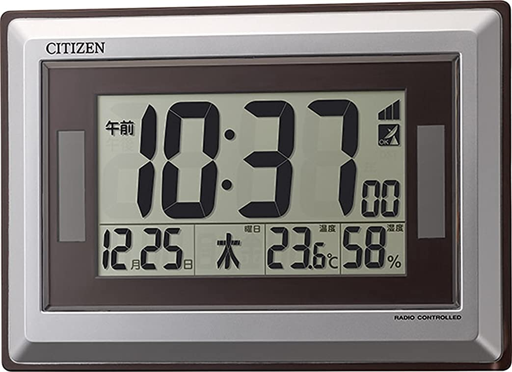 同様の必需品咳シチズン 掛け時計 電波 デジタル ソーラー アシスト電源 R182 置き掛け兼用 グリーン購入法 適合品 シルバー CITIZEN 8RZ182-019