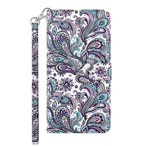 TYWZ Compatible with Xiaomi Redmi 9A Case Cover,Folding Stand PU Leather Wallet Shockproof Protective Bumper with Card Slots Magnetic-Purple Flower