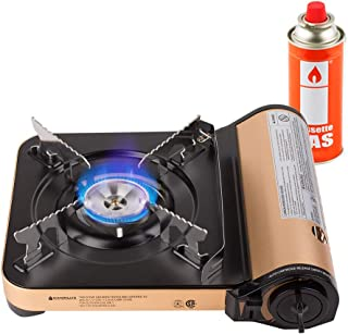 Camplux JK-7000 Single Burner Butane Stove, 11,500 BTU Portable Camping Gas Stove, Aluminum Alloy Outdoor Butane Gas with Carry Case, CSA Listed