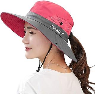 Andoer Chapéu de sol de abas largas Boonie chapéu feminino proteção UV Boné de verão para praia viagens caminhadas camping...