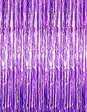 GOER - Cortinas de flecos metálicos de 1 x 3 m para decoración de fiestas, fotos, bodas, 2 paquetes, color morado