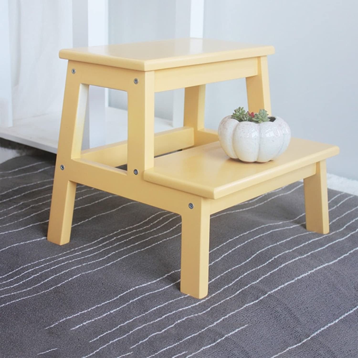 PENGFEI Folding Ladder Stool Step Solid Wood Multifunction Portable Household Change shoes Library 2 Steps 7 colors 39.5x35x35CM Furniture (color   Yellow)