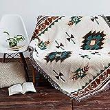 AIVIA Southwestern Aztec Decor Throw Blanket for Home, Cotton Southwest Navajo Native American Tribal Decorative Sofa Cover Wall Decor w/Boho Fringe - Cream Turquoise Burgundy Red, 60' x 85'