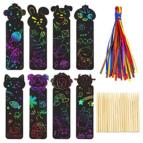 HANGOU Segnalibri Scratch Rainbow, Paper Scratch Art per Bambini Scratch Paper Segnalibri fai da te Segnalibri Scratch Art con Animali per Artigianato, Insegnamento in Classe