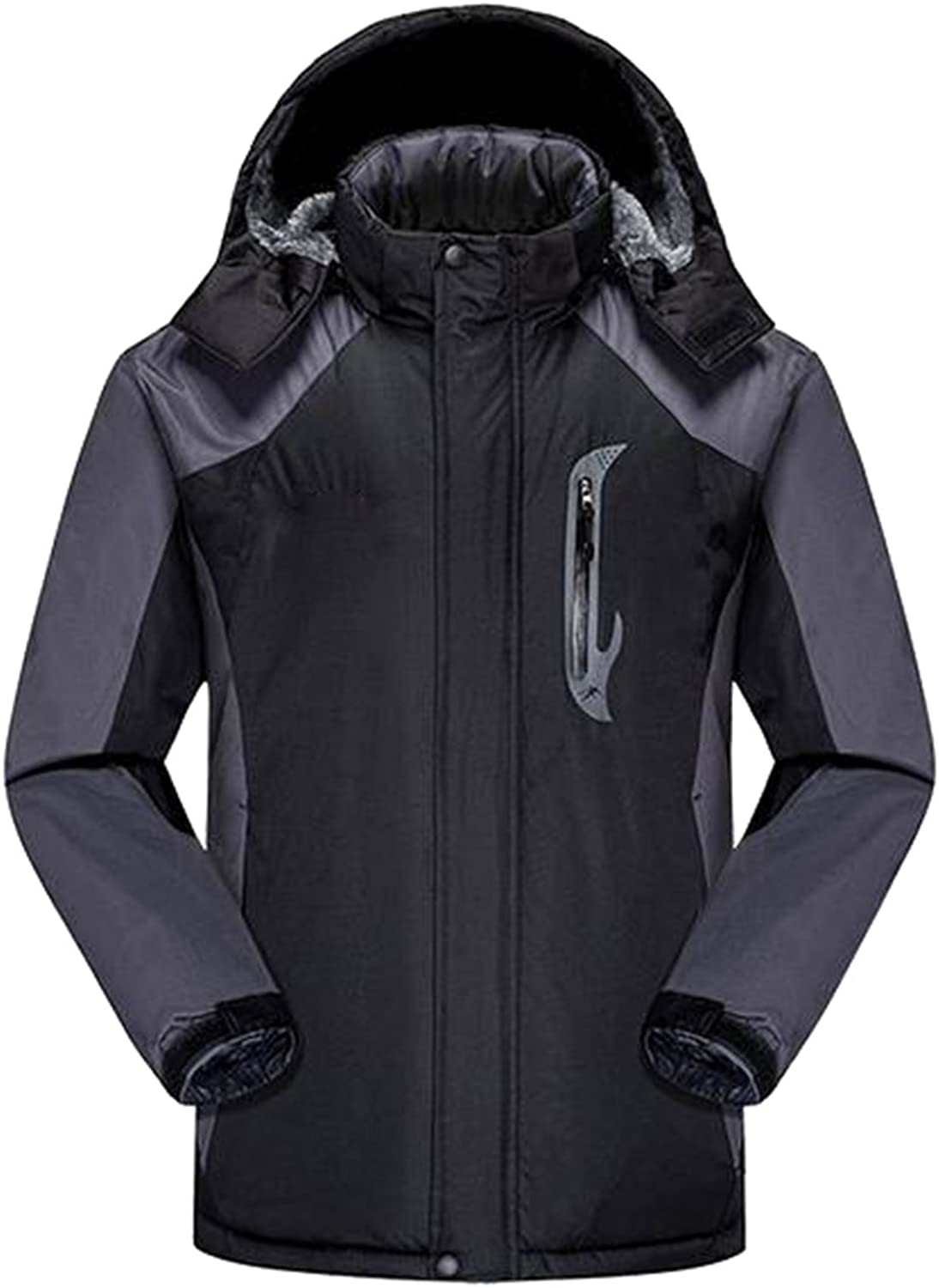 ARRIVE GUIDE Men's Front Zip Ski Jacket Fleece Waterproof Hooded Outwear