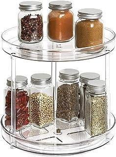 Delgeo Plateau Tournant Épices, 2 Étages Support à Épices Multifonction à Rotation à 360 ° pour Cuisine, Réfrigérateur, Co...