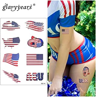 Daqin 15 21cm Temporary Tattoo Sticker Red Fake Tattoo Banner Flash Tattoo Waterproof Small Body Art Men's And Women (Color : American flag)