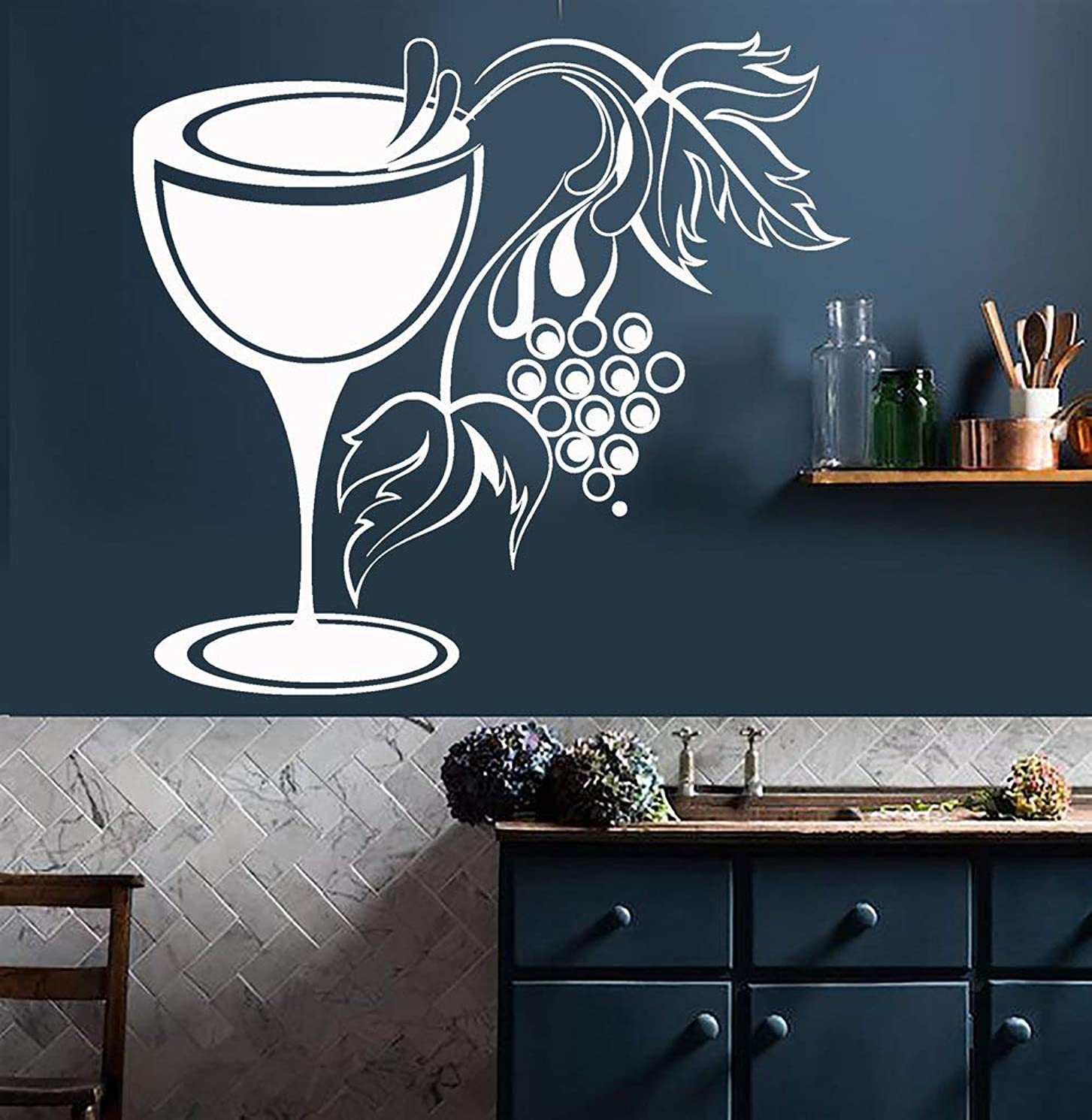 Tenriy Vinyl Decal Quote Art Wall Sticker Mirror Decal Glass Grapes Wine Shop for Kitchen Or Dining Room