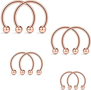 Ruifan 8-12PCS 16G Surgical Steel CBR Nose Septum Horseshoe Earring Eyebrow Tongue Lip Nipple Helix Tragus Piercing Ring 6-16mm