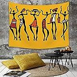 Yaoni Tapestry Pared paño Mantel Toalla de Playa,Decoración Afro, Bailarines africanos Personajes incompletos Grupo étnico Clan Disco HAP,Decoraciones para el hogar para la Sala de Estar Dormitorio