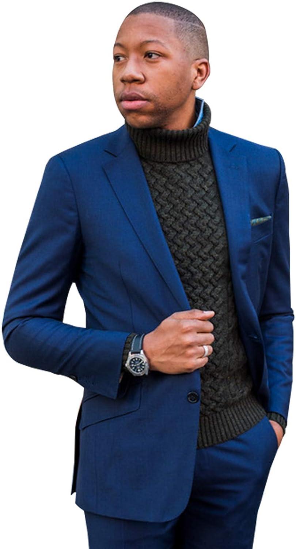 QZI Men's Suits 3 Piece Notch Lapel Slim Fit Wedding Formal Tuxedo Jacket Trousers