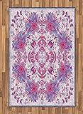 ABAKUHAUS Persa Alfombra de Área, Boho Étnico Floral, Ideal para Sala de Estar o Comedor Resistente a Manchas, 120 x 180 cm, Rosa Y Azul Pálido