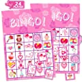 FUNNISM Valentines Day Bingo Game Cards,24-players Bingo Card Games for Adults, Family & Kids,Valentines Day School Classroom & Family Activities Crafts,Valentines Day Party Games Favors Supplies-Pink