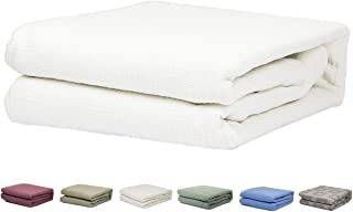 HomeLux White Pure 100% Cotton Thermal Hospital/Home Blanket - Twin Size