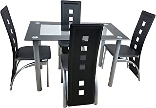 Kitchen Dining Table Set,5 Pieces Modern Dining Room Table Set w/ Tempered Glass Top & 4 High Back Leather Chairs Dinette Set for 4,Sturdy Metal Frame Kitchen Breakfast Furniture Counter Height,Black