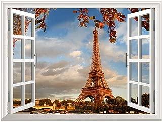 wall26 Removable Wall Sticker/Wall Mural - Eiffel Tower in Autumn, Paris, France   Creative Window View Home Decor/Wall Decor - 36